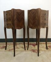 French Marquetry Kingwood Bedside Tables Rustic Distressed (3 of 13)