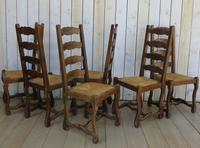 Six Oak & Rush Seated Os De Mouton Dining Chairs (4 of 8)
