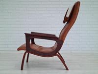 Danish armchair, cowhide, cognac leather, 1970s (18 of 20)