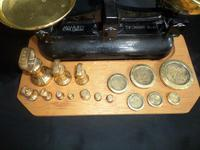 Avery Scales with Variety of Brass Weights on Especially Made Board (4 of 6)