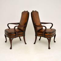 Pair of Georgian Style Leather & Mahogany Armchairs c.1930 (3 of 11)