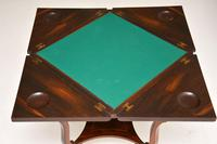 Antique Victorian Inlaid Rosewood Envelope Card Table (5 of 12)