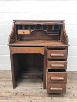 Antique Early 20th Century Oak Roll Top Desk (6 of 13)