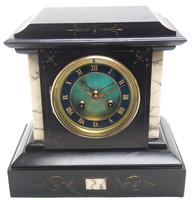 Fine French Slate & Marble Mantel Clock 8 Day Striking Mantle Clock (5 of 10)