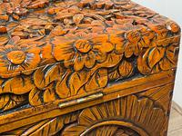 Chinese Camphor Wood Carved Birds & Flowers Chest Coffee Table (26 of 34)