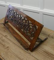Adjustable Fretwork Figured Walnut Book Rest or, Lutrin (4 of 7)