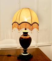 Bulbous Ceramic French Table Lamp with Dome Lampshade