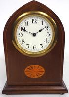 Solid Mahogany Lancet Cased Timepiece Clock with Satinwood Inlaid Decoration (4 of 9)
