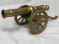 Small Antique French Victorian 19th Century Brass Cannon Ornament (5 of 18)