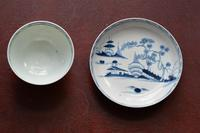 """18th Century Liverpool Porcelain """"Cannon Ball"""" pattern Tea Bowl & Saucer c1770 (10 of 10)"""