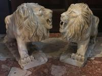 Pair Fine Early 20th Century Art Deco Italian Marble Male & Female Rampant Lions Sculptures (11 of 11)