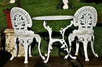 Nicely Weathered Painted Metal Bistro Set Table & 2 Chairs (4 of 5)