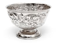Edwardian Silver Rose Bowl Embossed with Flowers and Scrolls (2 of 5)