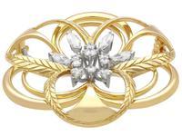 2.15ct Diamond & 18ct Yellow Gold Brooch - Vintage c.1960 (3 of 9)