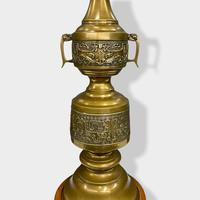 Large Pair of Chinese Style Brass Lamps (10 of 14)