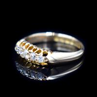 Antique Edwardian Old Cut Diamond Five Stone 18K Gold Ring (5 of 10)