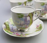 Art Deco Swan Lake Porcelain Roslyn Peacehaven Coffee Set c.1930 (4 of 10)