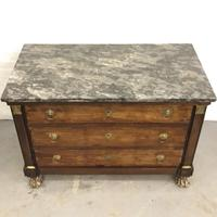 Lions paw French Empire marble top chest of drawers (6 of 10)