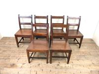 Set of Six Welsh Oak Farmhouse Kitchen Chairs with Bar Backs (2 of 9)