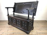Early 20th Century Stained Oak Monk's Bench (8 of 14)