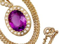 6.56 ct Amethyst and Pearl, 15 ct Yellow Gold Pendant - Antique Circa 1890 (11 of 12)
