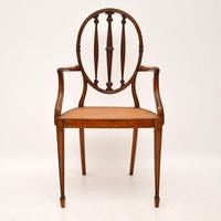 Pair of Antique Satinwood Cane Seated Armchairs (4 of 12)