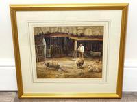 "Watercolour ""Tending The Sheep"" By Bertha Rhodes RA Rca Exh 1905 -1912 (7 of 41)"