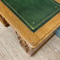 Victorian Golden Oak Antique Pedestal Desk (7 of 7)