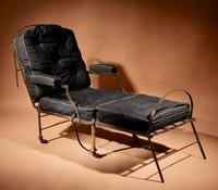 Original Campaign Wrought Iron & Brass Folding Armchair / Adjustable Day Bed