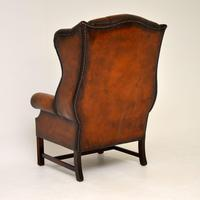 Antique Georgian  Style Leather Wing Back Armchair (8 of 9)