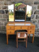 Antique Heals Oak Dressing Table & Stool