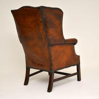Antique Leather & Mahogany Wing Back Armchair (3 of 11)