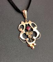 Antique Art Nouveau Lavalier Pendant, Ruby & Pearl, 9ct Gold (5 of 10)