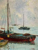 Marion Coker Leigh on Sea Fishing Boats Seascape Sailing Oil Painting (9 of 15)