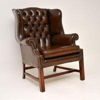 Georgian Style Leather Wing Back Armchair