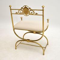 Antique French Empire Style Brass Stool / Chair (9 of 9)