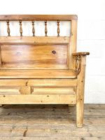 Vintage Pine Settle Bench with Storagev (4 of 10)
