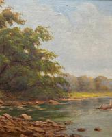 Beautiful Original 1921 Antique Riverscape Landscape Oil Painting (4 of 10)