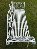 Large French Art Deco Style Fleur De Lis Garden Double Bowed  Curved Bench Seats 3 (9 of 37)
