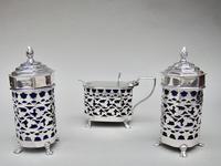 Stunning Edwardian Silver Three Piece Condiment Set by Charles Horner, Birmingham 1903 (3 of 8)