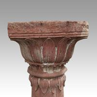 Antique Large Red Stone Carved Column (2 of 2)