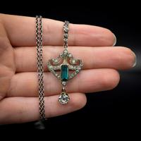 Antique Green Paste Sterling Silver Drop Pendant & Chain Necklace (3 of 10)