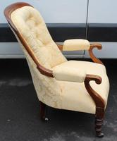 1880's Buttoned Back Mahogany Armchair with Gold Upholstery (2 of 3)
