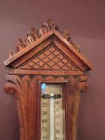 Small  Antique Polished Oak Decorative Banjo Barometer (4 of 8)