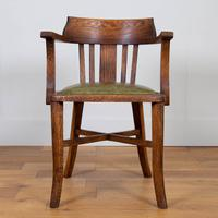 Vintage 1930s Oak Office Chair With Fresh Leather Seat x 2 (2 of 11)