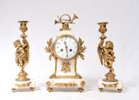 Antique Clock Set French Garniture Gilt & Marble Cherubs (14 of 14)
