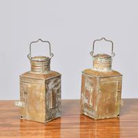 Pair of Original Victorian Brass Ship Lanterns (5 of 6)