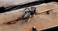 Victorian Beetle Brooch, Moonstone, Diamond, Ruby & Garnet, 15ct Gold, Boxed (3 of 12)