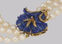 """Vintage Pearl Necklace 18ct Gold Lapis Lazuli Clasp Triple Strand 24"""" Long  Italian Necklace (4 of 7)"""