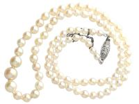 Single Strand Natural Pearl Necklace with 0.30ct Diamond Set Clasp c.1930 (4 of 12)